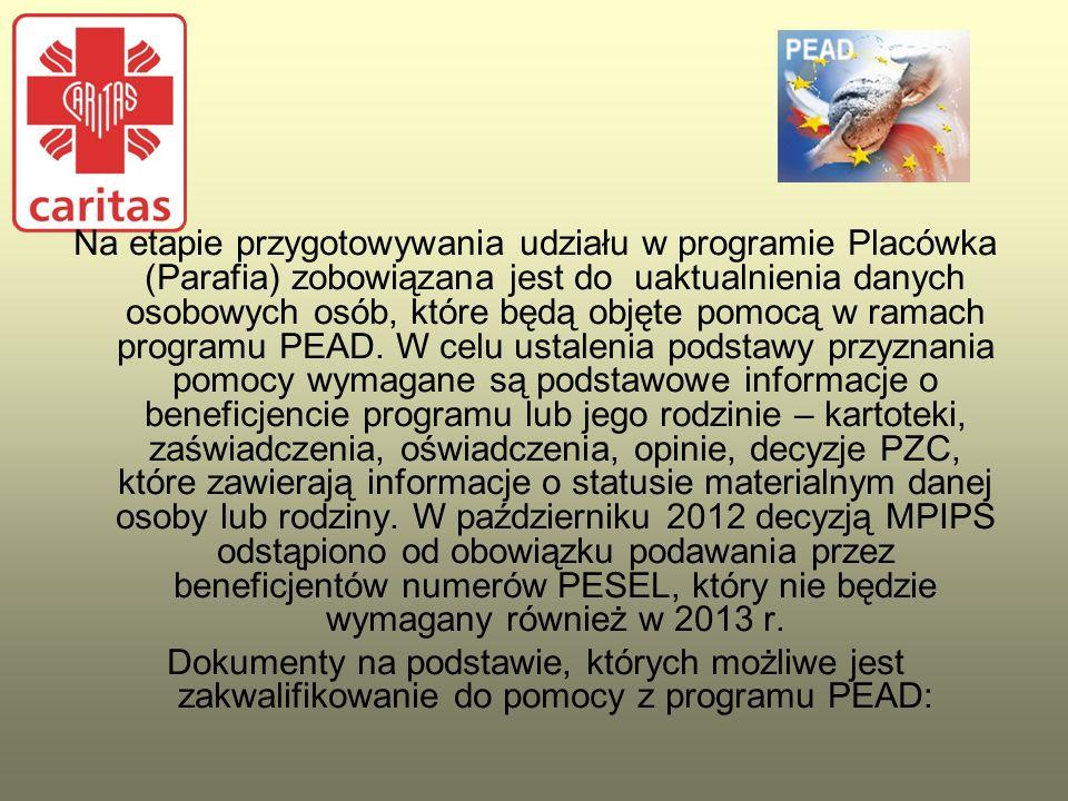 Na etapie przygotowywania udziału w programie Placówka (Parafia) zobowiązana jest do uaktualnienia danych osobowych osób, które będą objęte pomocą w ramach programu PEAD. W celu ustalenia podstawy przyznania pomocy wymagane są podstawowe informacje o beneficjencie programu lub jego rodzinie – kartoteki, zaświadczenia, oświadczenia, opinie, decyzje PZC, które zawierają informacje o statusie materialnym danej osoby lub rodziny. W październiku 2012 decyzją MPIPS odstąpiono od obowiązku podawania przez beneficjentów numerów PESEL, który nie będzie wymagany również w 2013 r.
