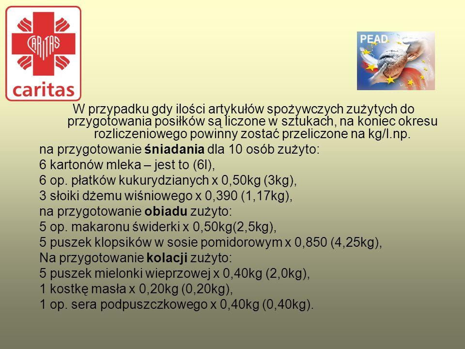 W przypadku gdy ilości artykułów spożywczych zużytych do przygotowania posiłków są liczone w sztukach, na koniec okresu rozliczeniowego powinny zostać przeliczone na kg/l.np.