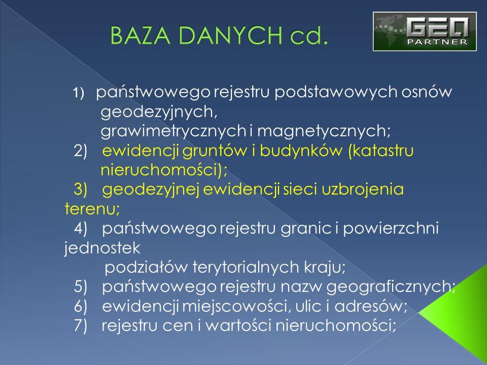 BAZA DANYCH cd. geodezyjnych, grawimetrycznych i magnetycznych;