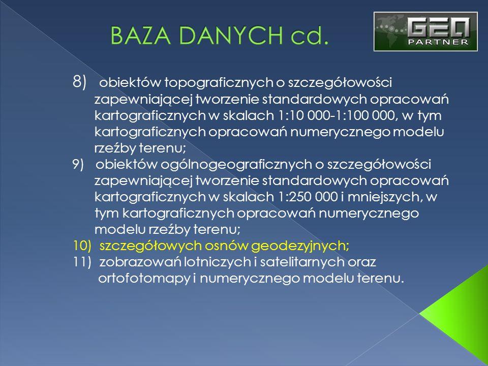 BAZA DANYCH cd. 8) obiektów topograficznych o szczegółowości