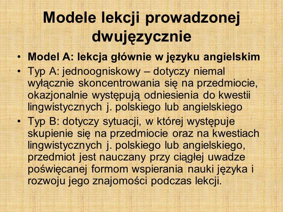 Modele lekcji prowadzonej dwujęzycznie