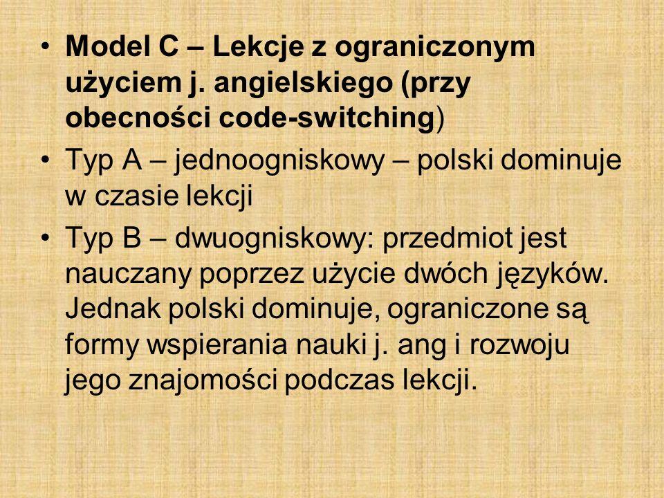 Model C – Lekcje z ograniczonym użyciem j