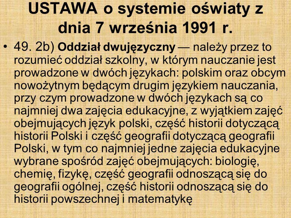 USTAWA o systemie oświaty z dnia 7 września 1991 r.