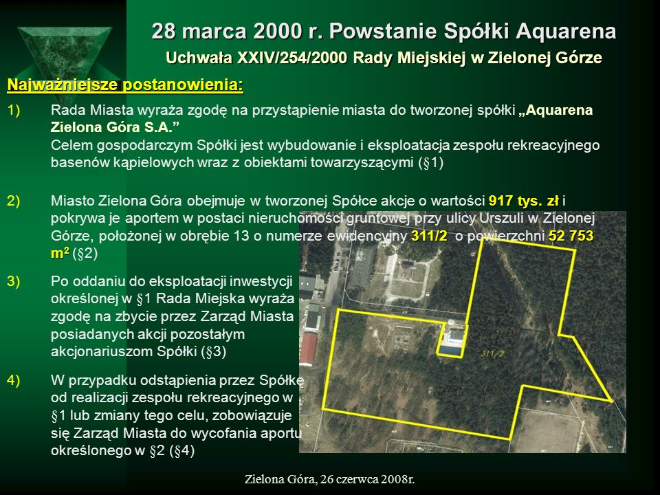28 marca 2000 r. Powstanie Spółki Aquarena