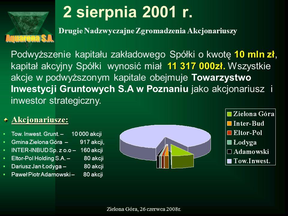 2 sierpnia 2001 r.Drugie Nadzwyczajne Zgromadzenia Akcjonariuszy. Aquarena S.A.
