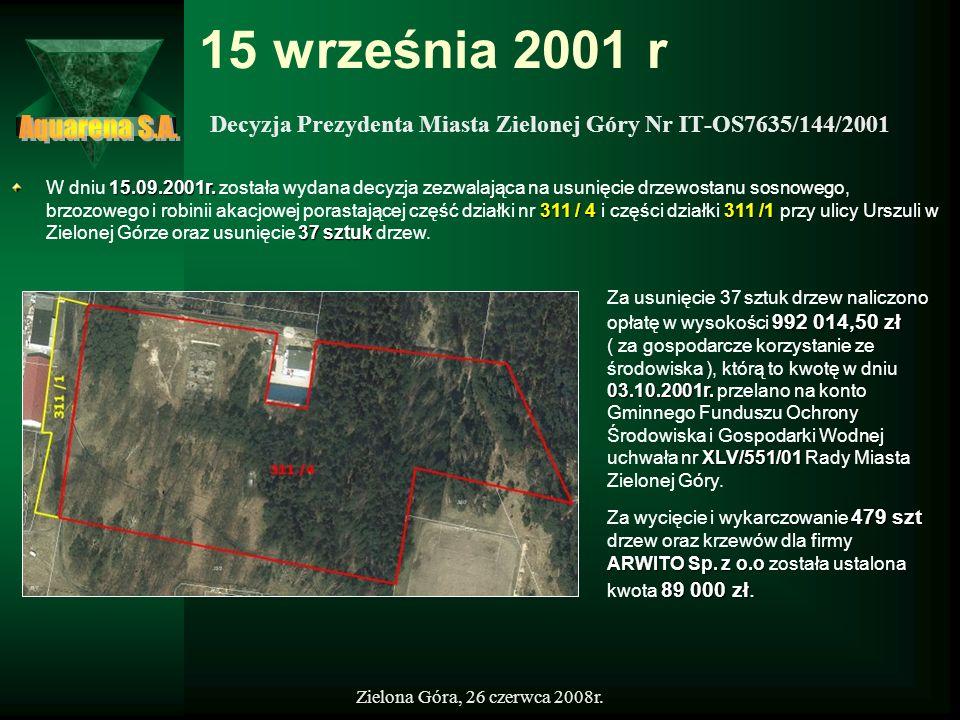15 września 2001 r Aquarena S.A. Decyzja Prezydenta Miasta Zielonej Góry Nr IT-OS7635/144/2001.