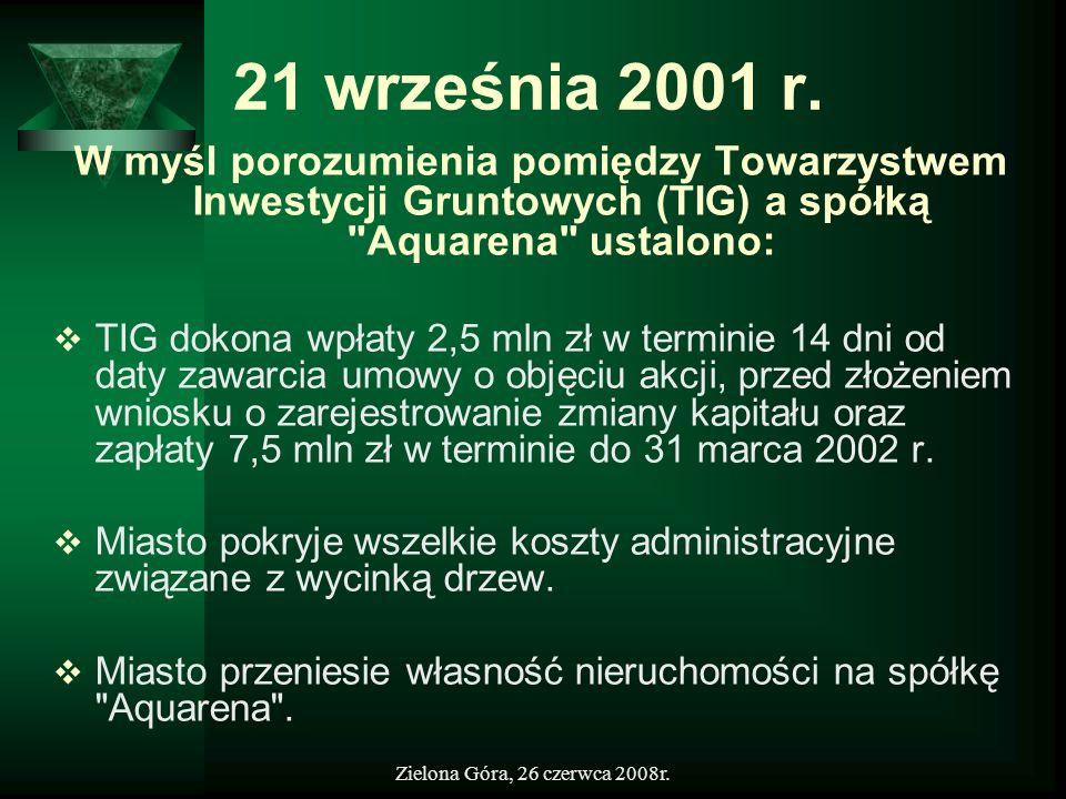 21 września 2001 r.W myśl porozumienia pomiędzy Towarzystwem Inwestycji Gruntowych (TIG) a spółką Aquarena ustalono:
