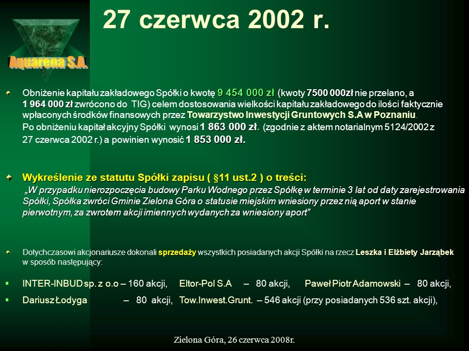 27 czerwca 2002 r.Aquarena S.A.