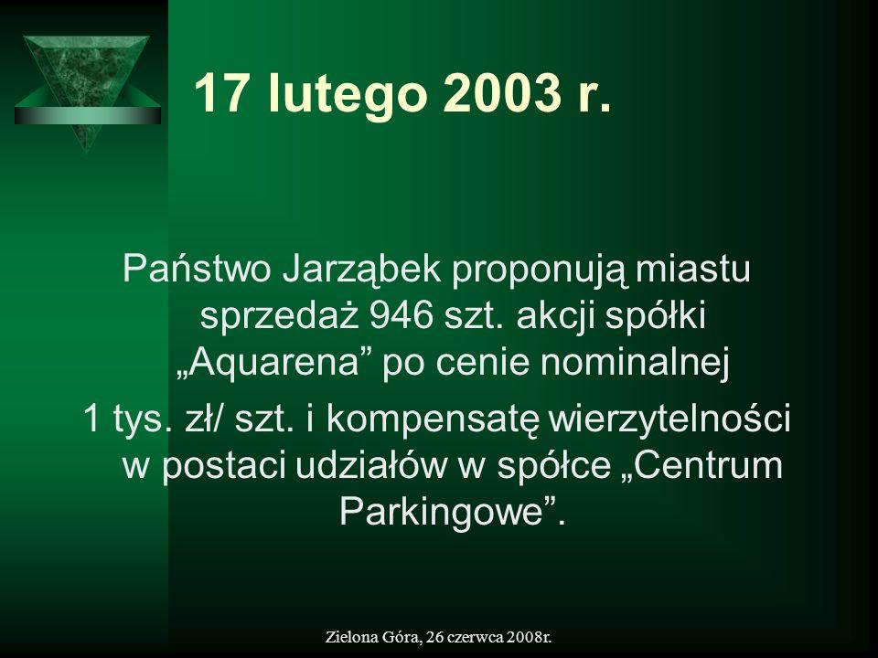 """17 lutego 2003 r.Państwo Jarząbek proponują miastu sprzedaż 946 szt. akcji spółki """"Aquarena po cenie nominalnej."""