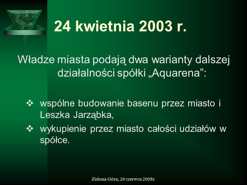 """24 kwietnia 2003 r.Władze miasta podają dwa warianty dalszej działalności spółki """"Aquarena :"""