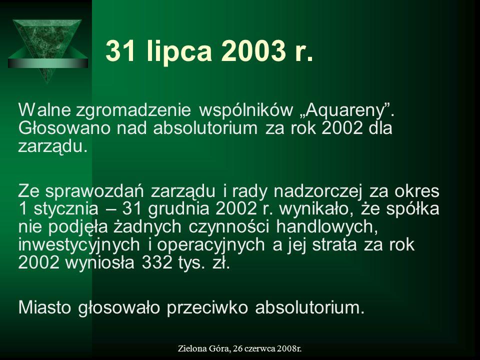 """31 lipca 2003 r. Walne zgromadzenie wspólników """"Aquareny . Głosowano nad absolutorium za rok 2002 dla zarządu."""