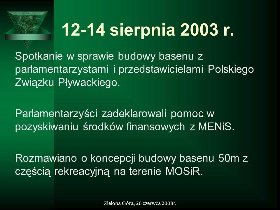 12-14 sierpnia 2003 r. Spotkanie w sprawie budowy basenu z parlamentarzystami i przedstawicielami Polskiego Związku Pływackiego.