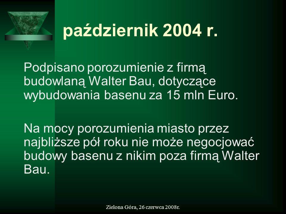 październik 2004 r.Podpisano porozumienie z firmą budowlaną Walter Bau, dotyczące wybudowania basenu za 15 mln Euro.