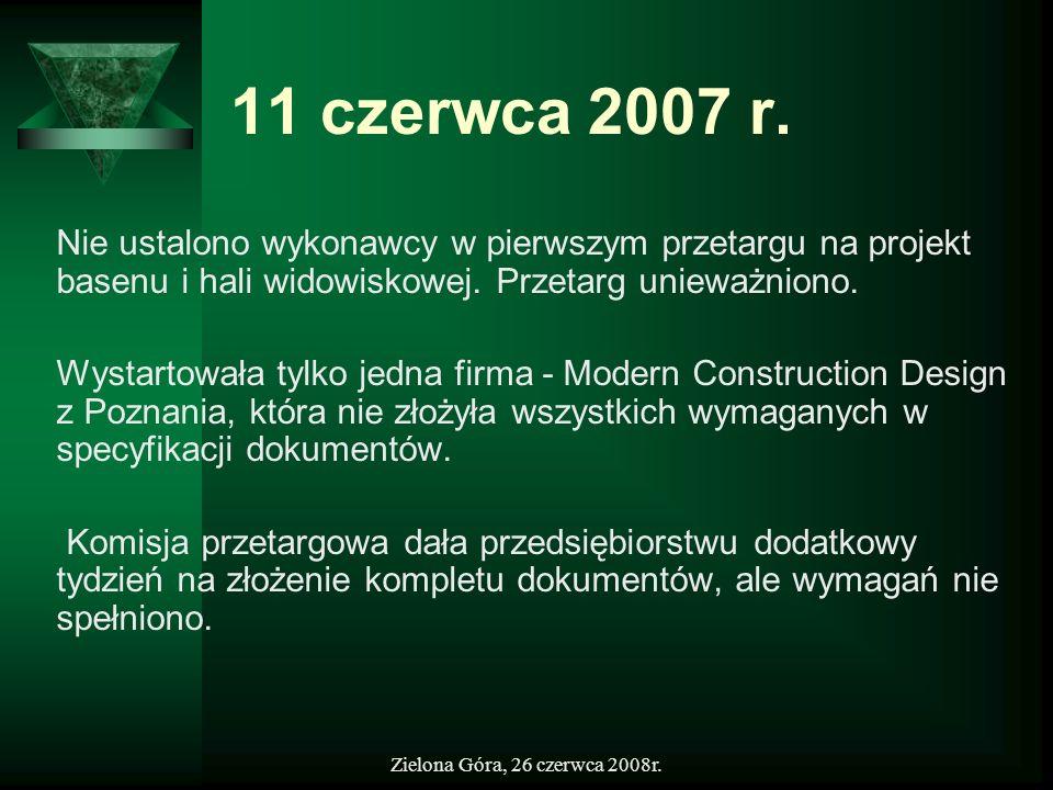 11 czerwca 2007 r.Nie ustalono wykonawcy w pierwszym przetargu na projekt basenu i hali widowiskowej. Przetarg unieważniono.