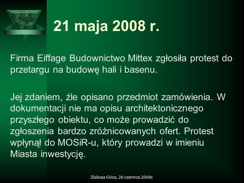 21 maja 2008 r. Firma Eiffage Budownictwo Mittex zgłosiła protest do przetargu na budowę hali i basenu.