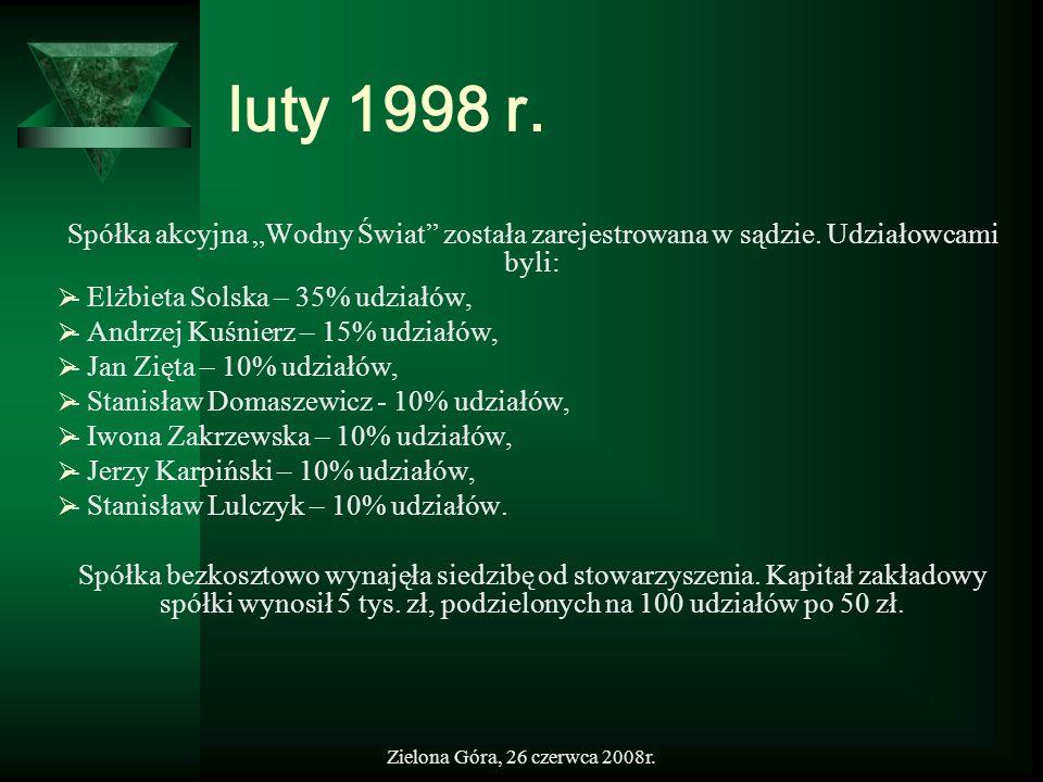 """luty 1998 r.Spółka akcyjna """"Wodny Świat została zarejestrowana w sądzie. Udziałowcami byli: - Elżbieta Solska – 35% udziałów,"""