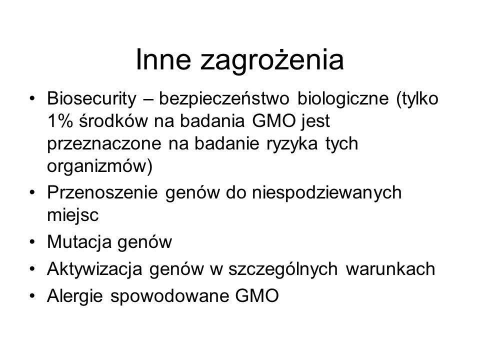 Inne zagrożenia Biosecurity – bezpieczeństwo biologiczne (tylko 1% środków na badania GMO jest przeznaczone na badanie ryzyka tych organizmów)