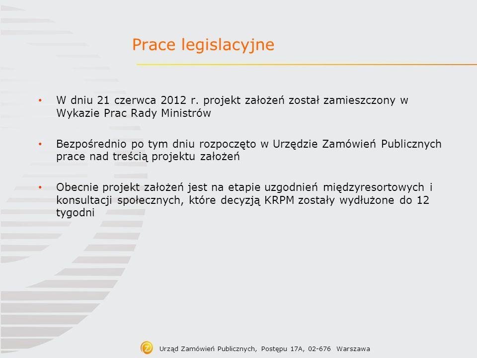 Prace legislacyjneW dniu 21 czerwca 2012 r. projekt założeń został zamieszczony w Wykazie Prac Rady Ministrów.