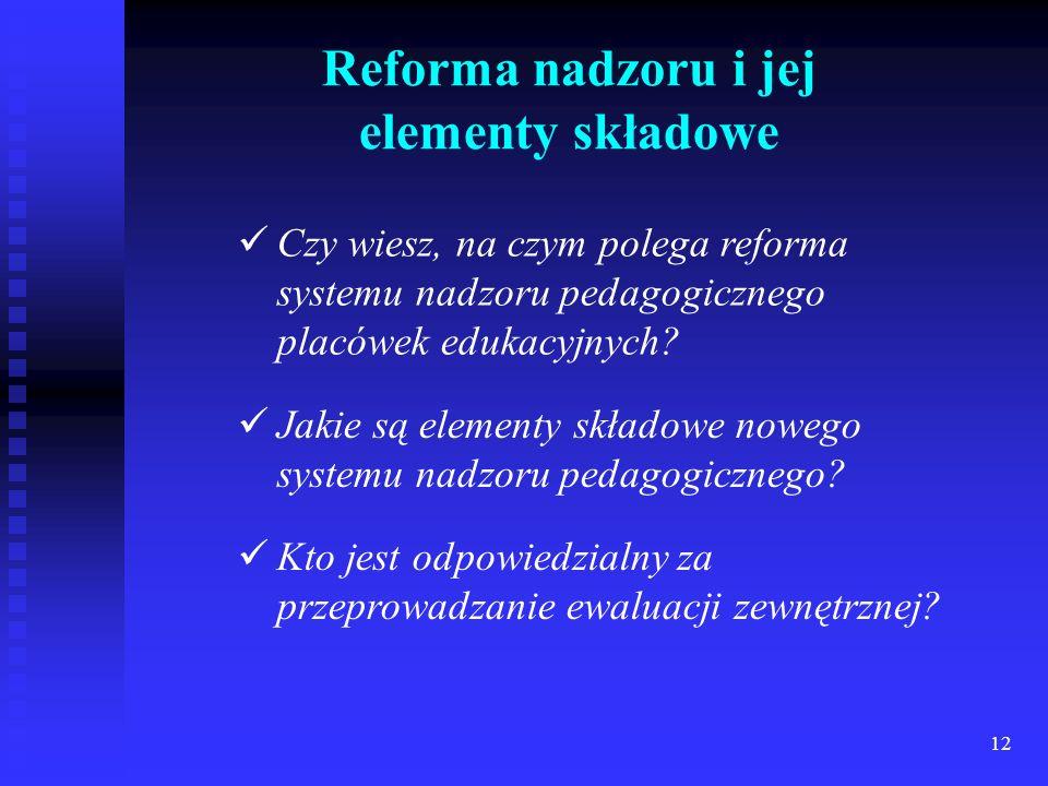 Reforma nadzoru i jej elementy składowe