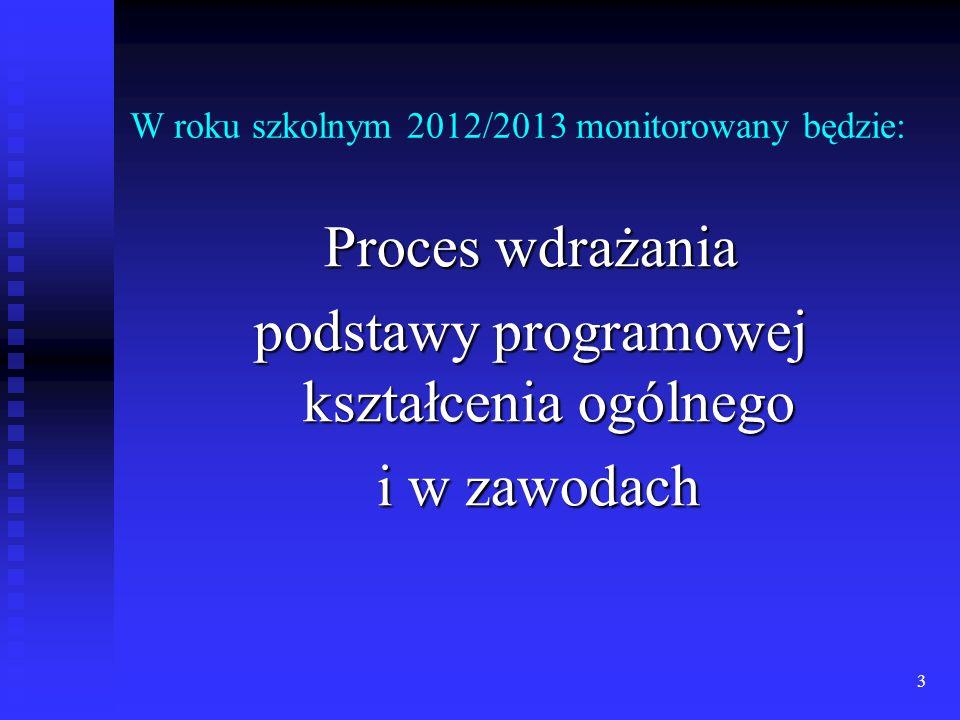 W roku szkolnym 2012/2013 monitorowany będzie: