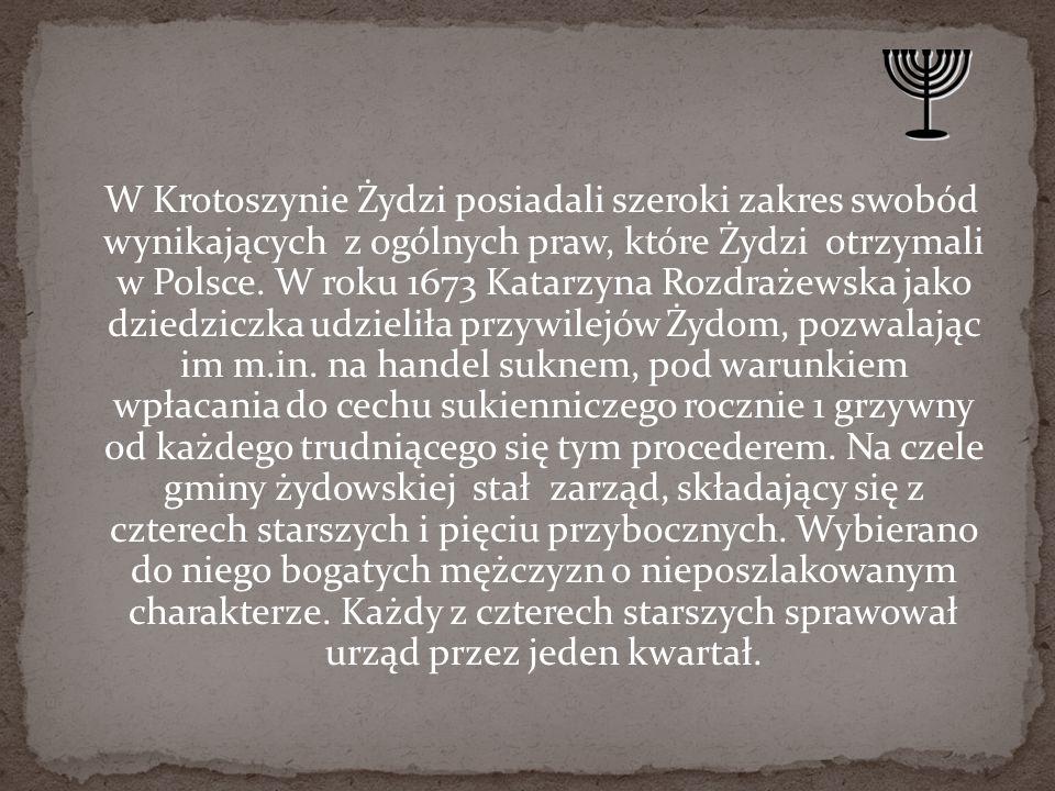 W Krotoszynie Żydzi posiadali szeroki zakres swobód wynikających z ogólnych praw, które Żydzi otrzymali w Polsce.
