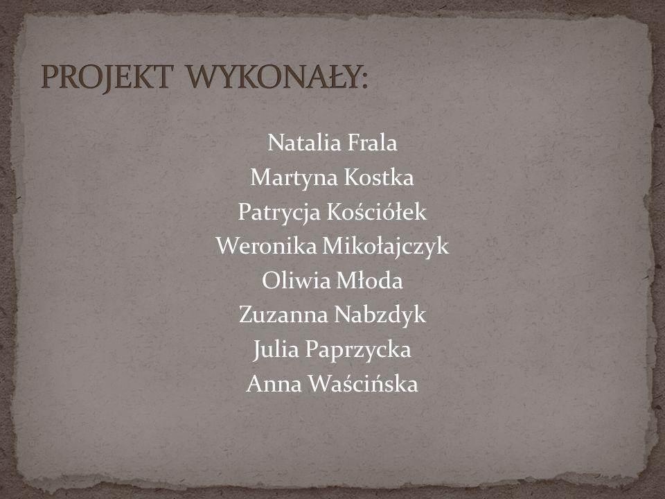 PROJEKT WYKONAŁY: Natalia Frala Martyna Kostka Patrycja Kościółek