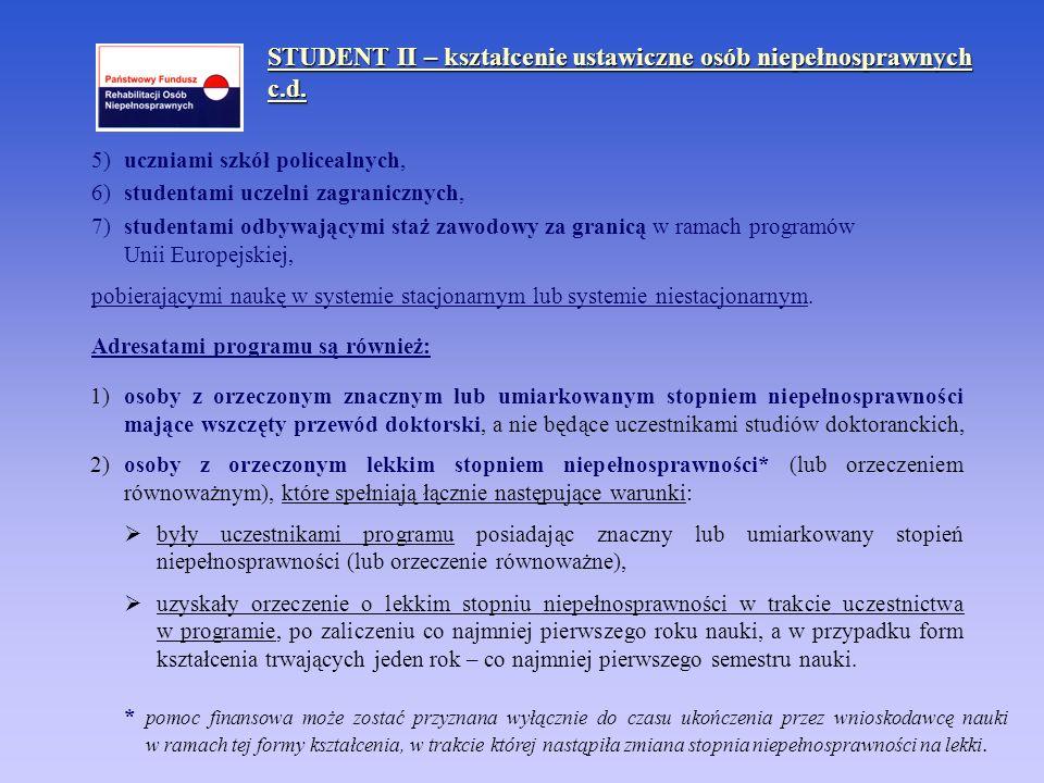 STUDENT II – kształcenie ustawiczne osób niepełnosprawnych c.d.