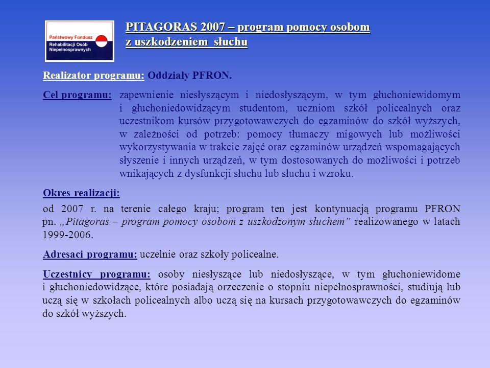 PITAGORAS 2007 – program pomocy osobom z uszkodzeniem słuchu