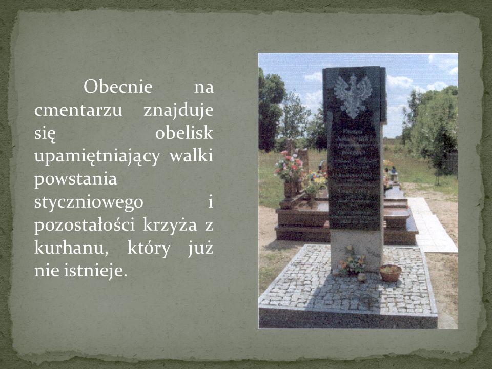 Obecnie na cmentarzu znajduje się obelisk upamiętniający walki powstania styczniowego i pozostałości krzyża z kurhanu, który już nie istnieje.