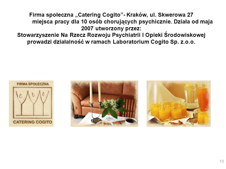 """Firma społeczna """"Catering Cogito - Kraków, ul. Skwerowa 27"""