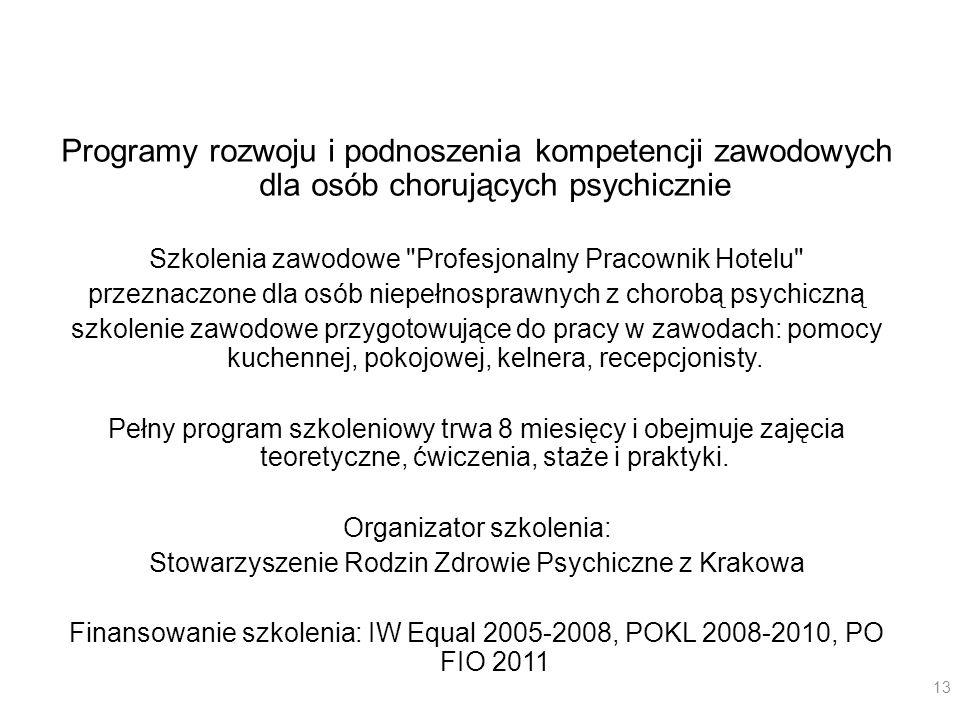 ProgramyProgramy rozwoju i podnoszenia kompetencji zawodowych dla osób chorujących psychicznie. Szkolenia zawodowe Profesjonalny Pracownik Hotelu