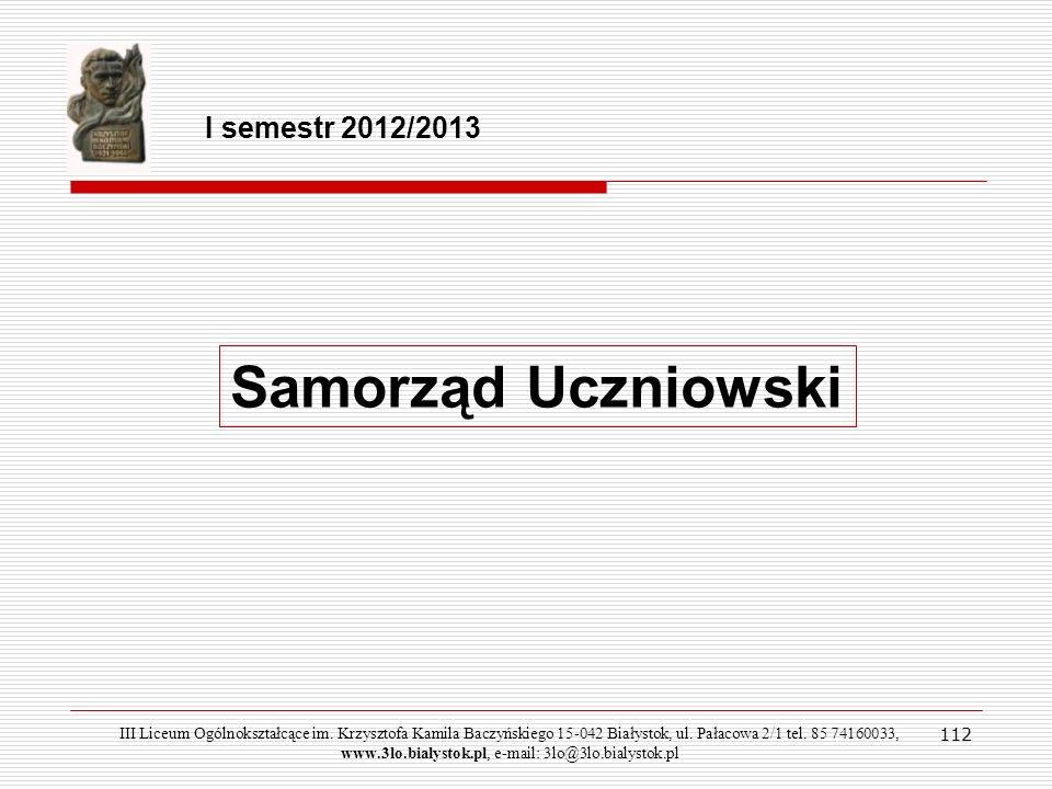 Samorząd Uczniowski I semestr 2012/2013 112