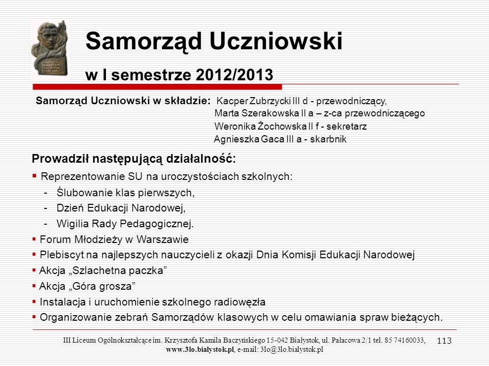Samorząd Uczniowski w I semestrze 2012/2013