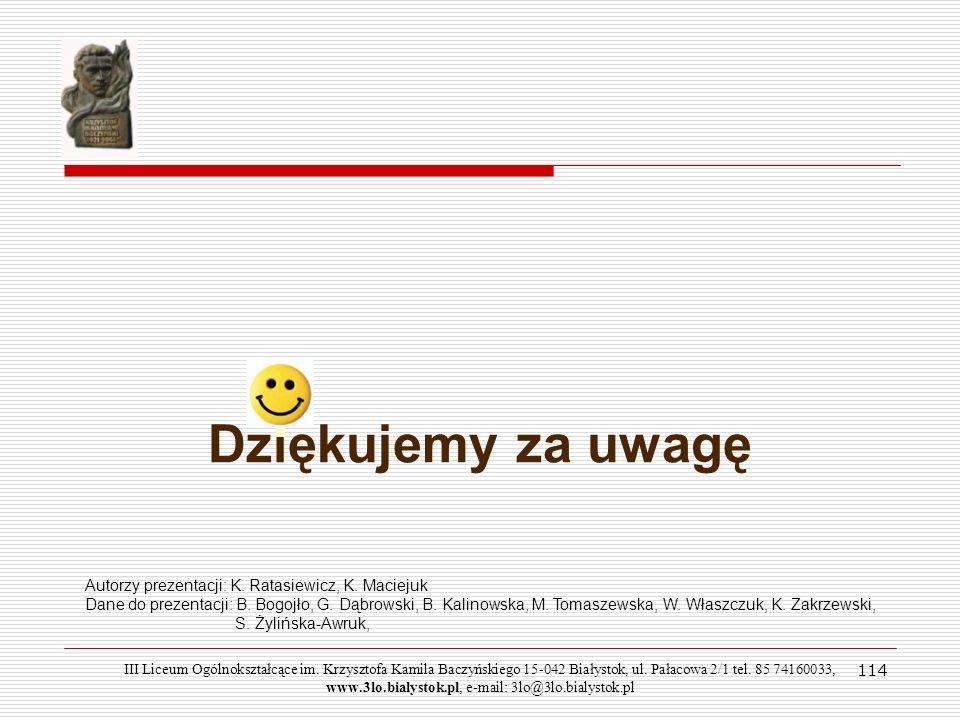 Dziękujemy za uwagę Autorzy prezentacji: K. Ratasiewicz, K. Maciejuk
