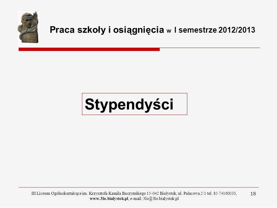 Stypendyści Praca szkoły i osiągnięcia w I semestrze 2012/2013 18