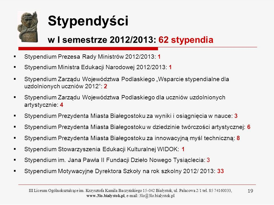 Stypendyści w I semestrze 2012/2013: 62 stypendia