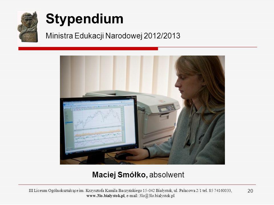 Stypendium Ministra Edukacji Narodowej 2012/2013