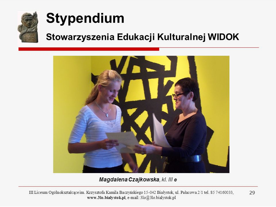 Magdalena Czajkowska, kl. III e