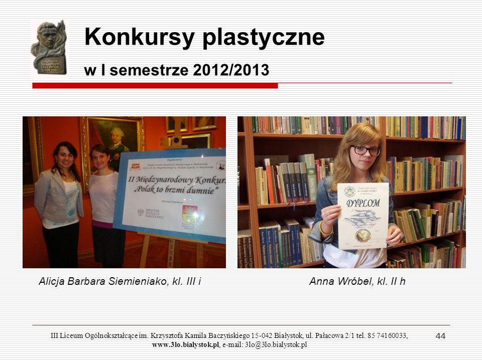 Konkursy plastyczne w I semestrze 2012/2013