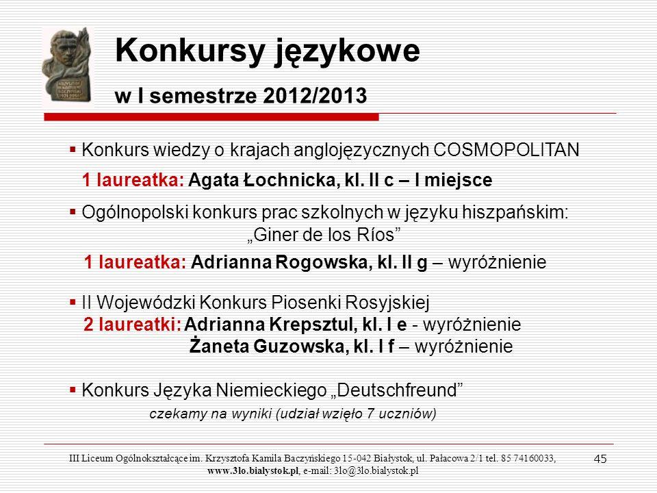 Konkursy językowe w I semestrze 2012/2013