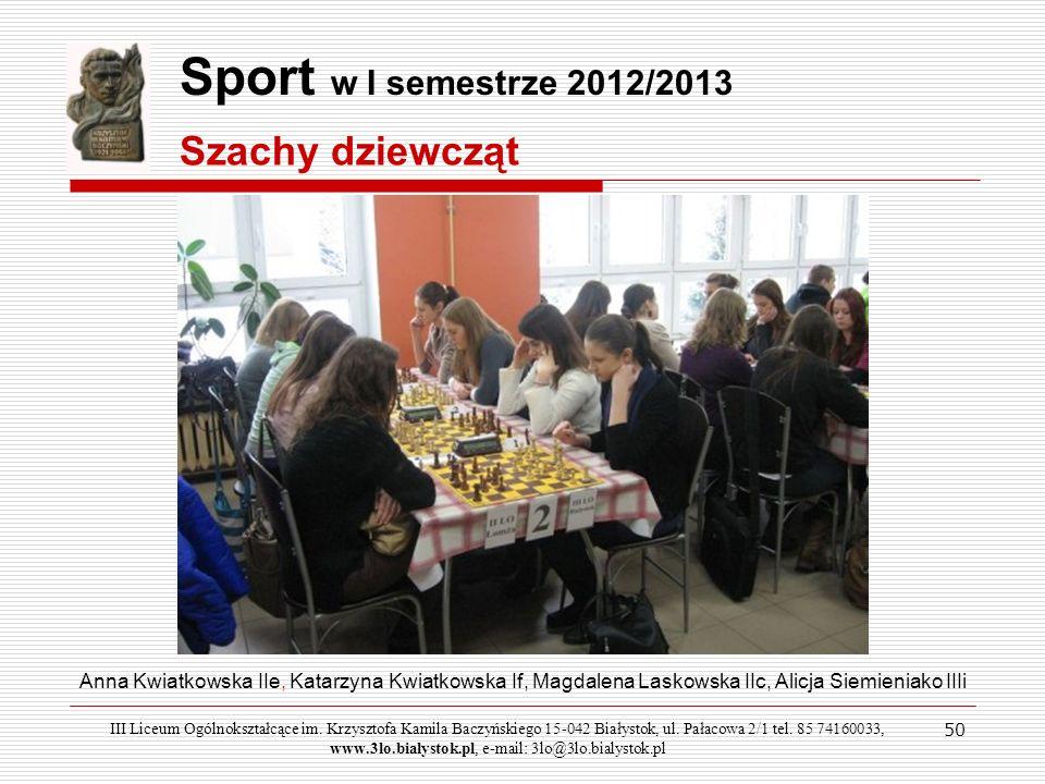 Sport w I semestrze 2012/2013 Szachy dziewcząt