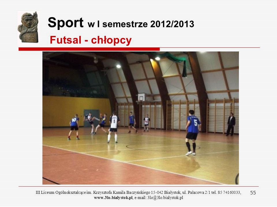 Sport w I semestrze 2012/2013 Futsal - chłopcy 55