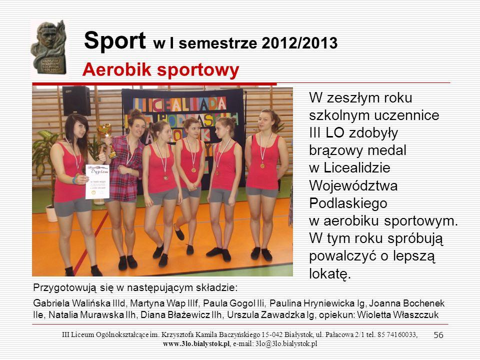 Sport w I semestrze 2012/2013 Aerobik sportowy