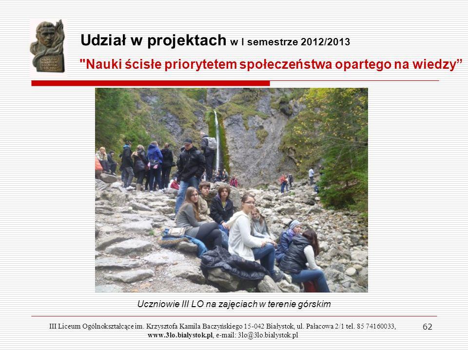 Uczniowie III LO na zajęciach w terenie górskim