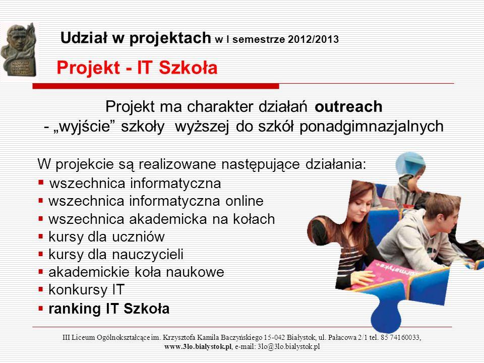 Projekt - IT Szkoła Udział w projektach w I semestrze 2012/2013
