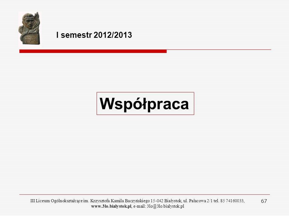 I semestr 2012/2013Współpraca.