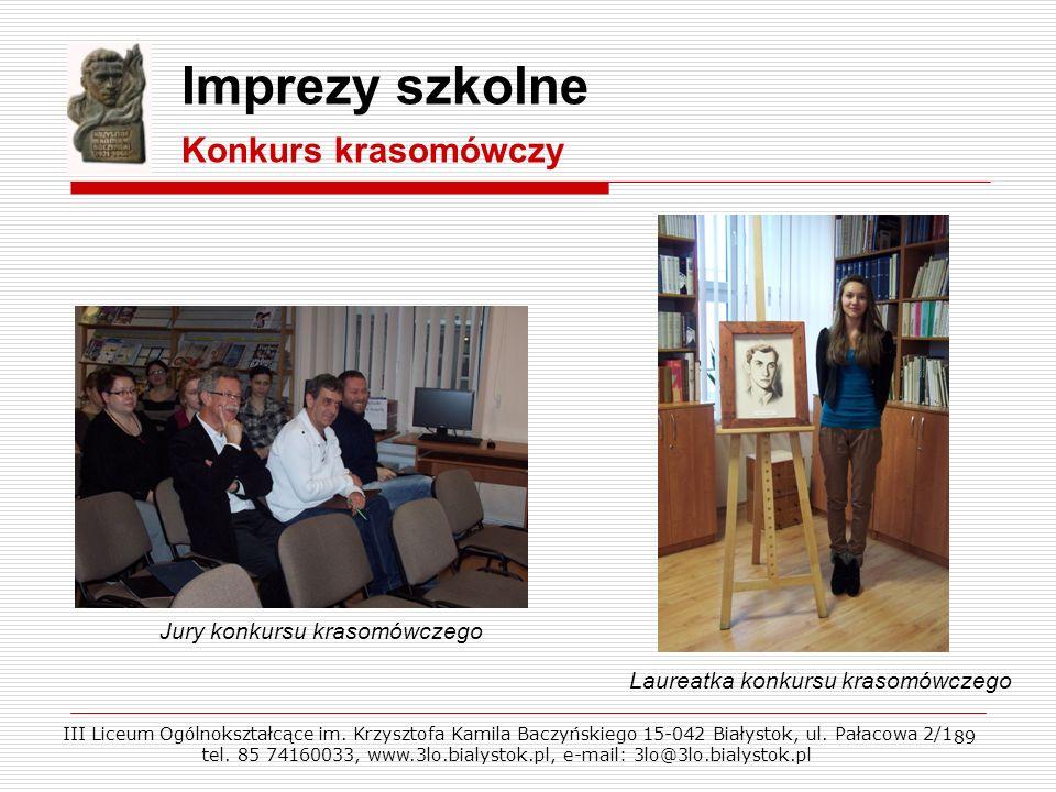 Imprezy szkolne Konkurs krasomówczy Jury konkursu krasomówczego