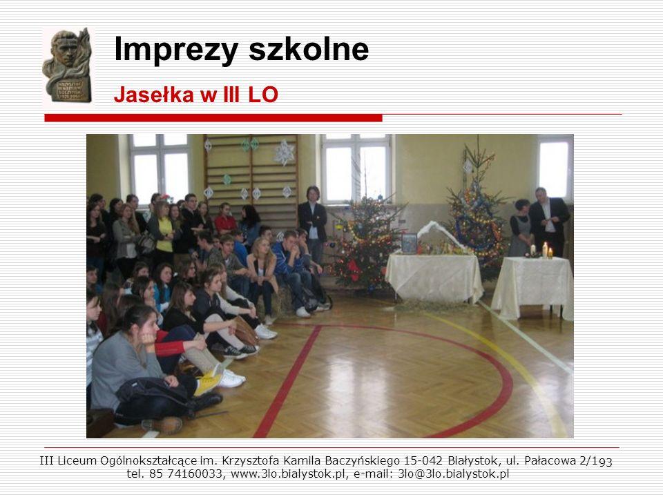 Imprezy szkolne Jasełka w III LO
