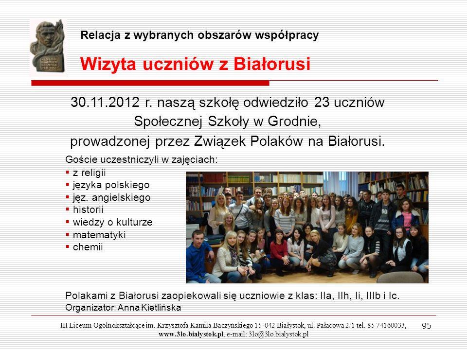 Wizyta uczniów z Białorusi