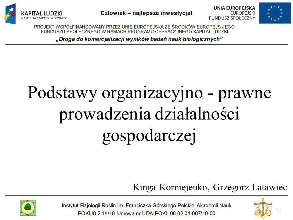 Podstawy organizacyjno - prawne prowadzenia działalności gospodarczej